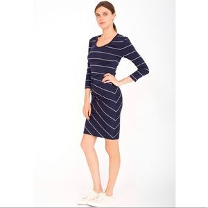 sundry striped side ruched 3/4 sleeve bodycon mini